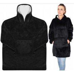 Ciepła bluza oversize XXL 2w1 aksamit włochacz Futrzak bordowa czarna uniseks