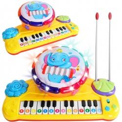 Organki interaktywne dla dzieci perkusja pianinko melodie 2w1
