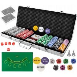 Zestaw do pokera TEXAS żetony 500 sztuk karty walizka XXL HQ