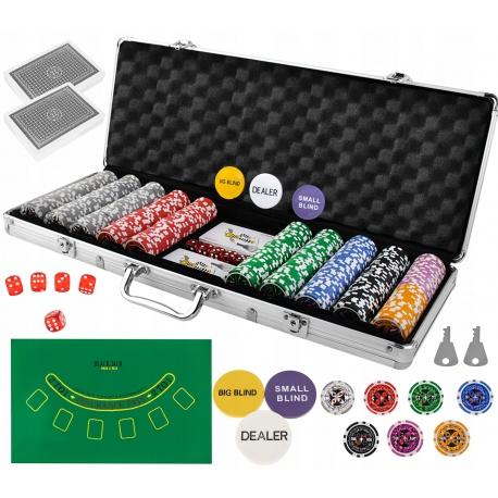 Zestaw do pokera TEXAS żetony 500 sztuk karty walizka XXL