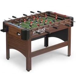 Duży stół do gry w piłkarzyki 121 x 61 x 79 cm brązowy zabudowany stabilny