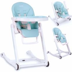Krzesełko do karmienia ze stolikiem leżaczek bujaczek Ricokids szare niebieskie