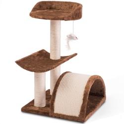 Mały drapak domek dla kota 58 cm tunel i zabawka Pethaus brązowy