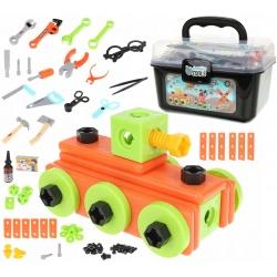 Zestaw konstrukcyjny dla dzieci warsztat plastikowe narzędzia skrzynka