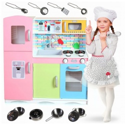 Kolorowa kuchnia drewniana zabawkowa kuchenka AGD zlew garnki dla dzieci