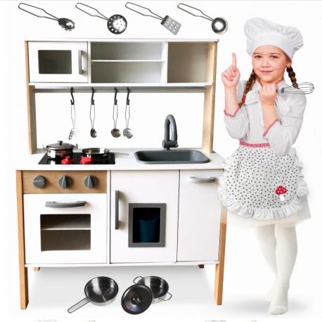 Kuchnia drewniana dla dzieci retro kran zlew piekarnik naczynia
