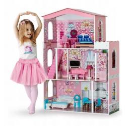 Różowy drewniany domek dla lalek duży 3-piętrowy meble taras winda