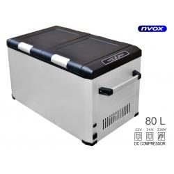 Lodówka turystyczna NVOX z zasilaniem 12/230V o pojemność 80L z zamrażalnikiem sprężarkowa z kompresorem