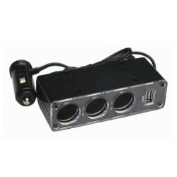 Rozdzielacz gniazda zapalniczki na 3 wejścia + USB