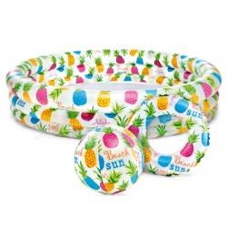 Zestaw basen dmuchany dla dzieci 132 x 28 cm piłka i kółko INTEX 59469