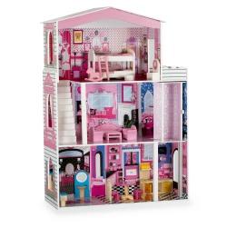 Drewniany domek dla lalek duża willa dla LALEK trzy piętra meble taras