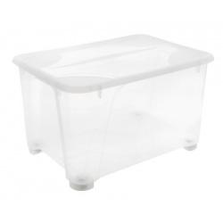 Skrzynia na kółkach 140L plastikowy zamykany pojemnik do garderoby lub szafy
