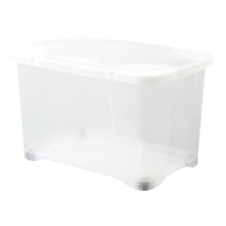 Skrzynia na kółkach 40L plastikowy zamykany pojemnik do garderoby lub szafy