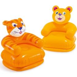 Fotel dmuchany dla dziecka Miś Tygrys lub Hipopotam 65 x 64 cm Intex 68556