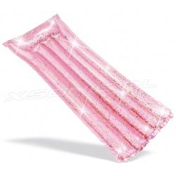 Materac dmuchany brokatowy 170 x 53 cm do pływania różowy Intex 58720