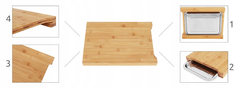 Deska bambusowa do krojenia chleba duża 35x25 chowana taca 2w1