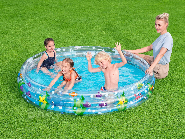 Basen dmuchany dla dzieci 183 x 33 cm okrągły morskie głębiny Bestway 51005