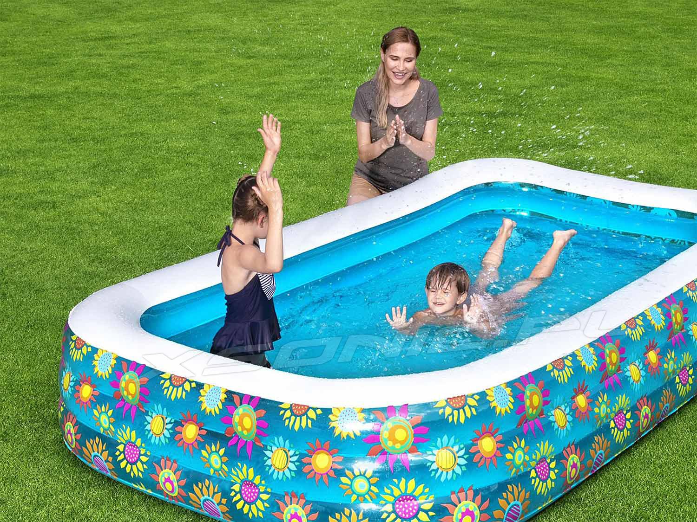 Prostokątny basen dmuchany 305 x 183 x 56 cm dla rodziny Bestway 54121