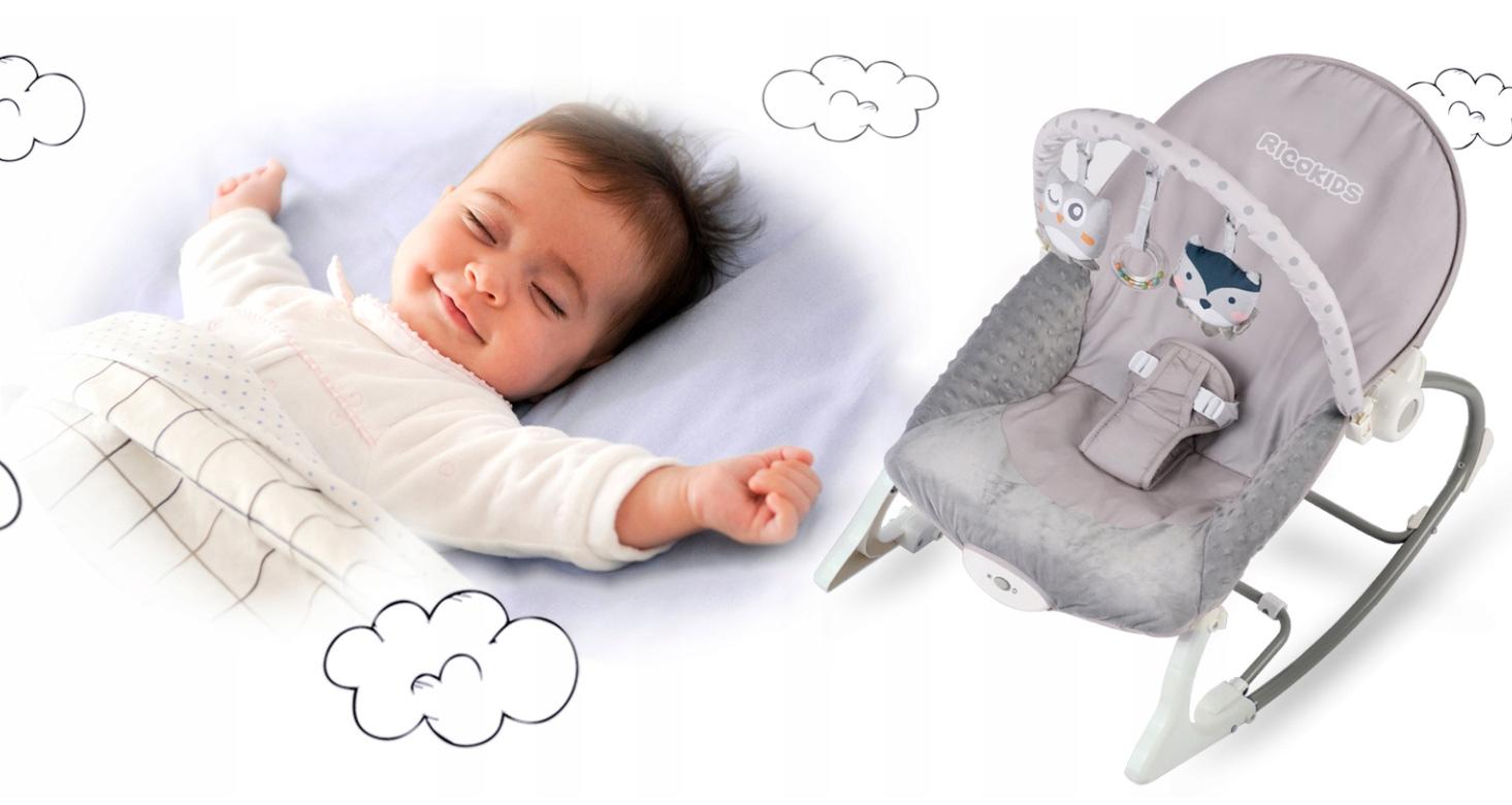 Leżaczek dla dzieci do usypiania bujak multifunkcyjny z wibracjami wrzosowy