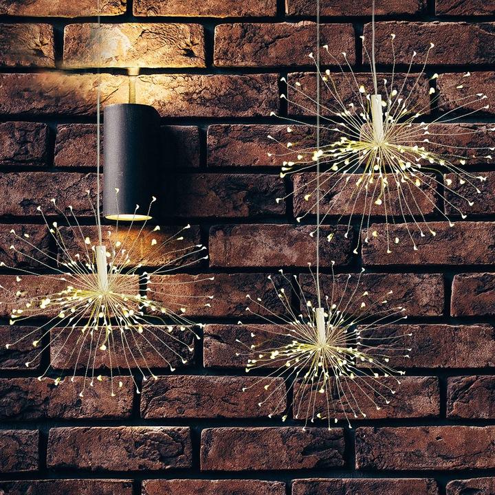 Lampki 100 LED eksplodująca gwiazda kula choinkowe na baterie drucik dekoracyjne