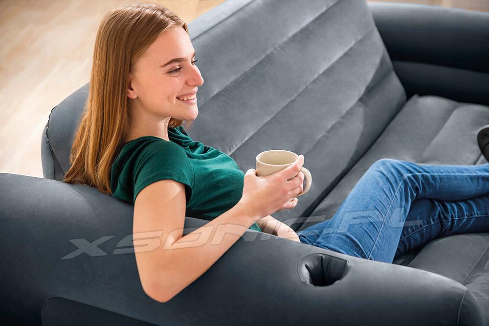 Dmuchana welurowa sofa rozkładane łóżko 2w1 z oparciem fotel INTEX 66552