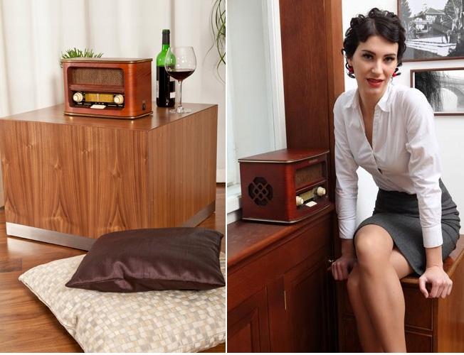 Radio retro FM w drewnianej obudowie wygląda na stare Hyundai RA601
