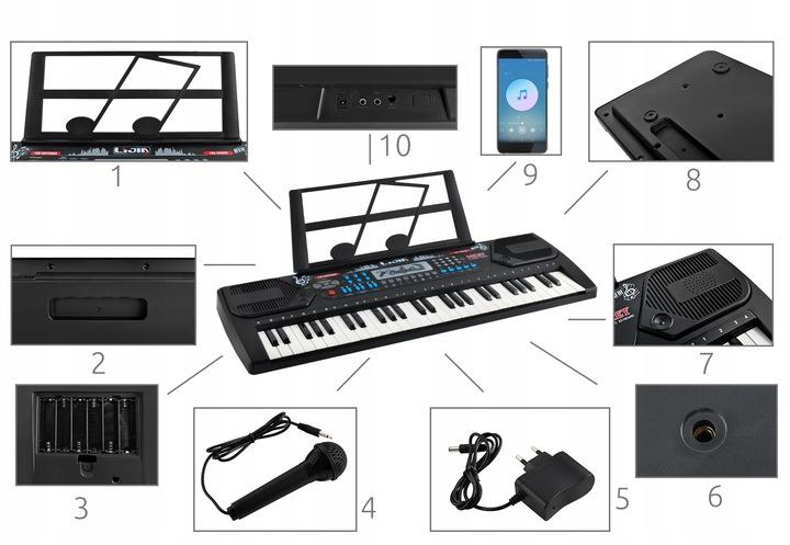 Duże organy keyboard pianino do nauki 54 klawisze mikrofon stojak na nuty