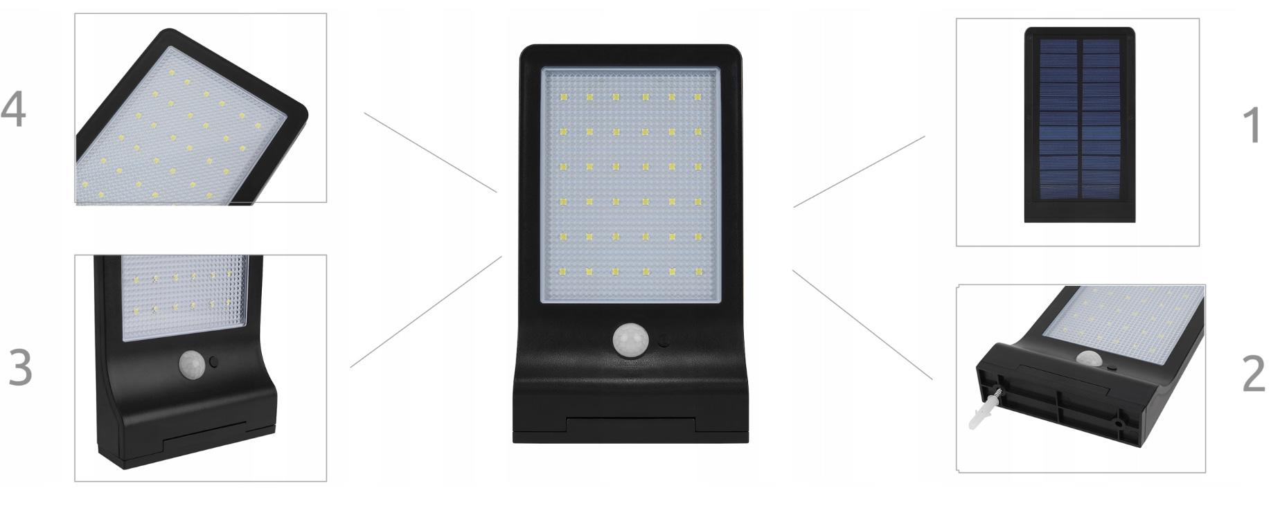 Lampa solarna nad wjeście ścienna 36 LED czujnik zmierzchu ruchu