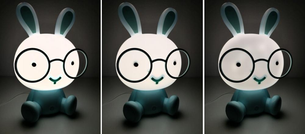 Lampka nocna dla dzieci biały królik 30cm 3 tryby jasności LED