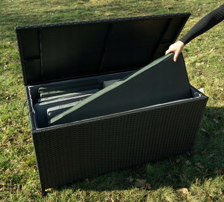 Skrzynia ogrodowa 350L czarna Technorattan klapa na podnośnikach kółkach
