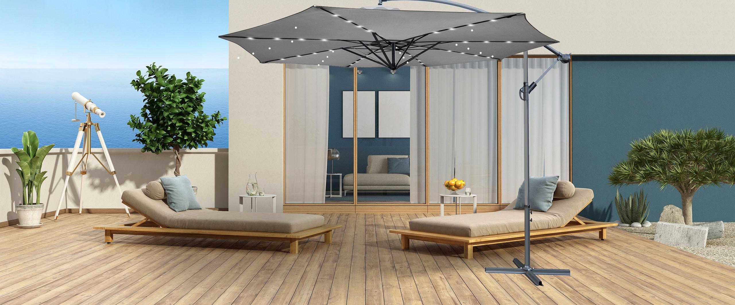 Rozkładany parasol ogrodowy XXL 350cm na wysięgniku szary 32LED