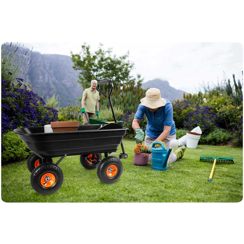 Wózek ogrodowy taczka ogrodowa wywrotka do prac domowych plastikowa 75 litrów