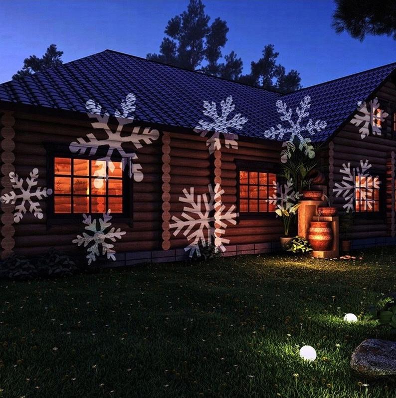 Projektor LED oświetlenie świąteczne na dom płatki śniegu falowanie