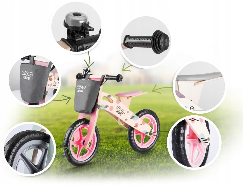 Drewniany rowerek biegowy różowy Ricobike z torbą koła 12 cali dla dziewczynki