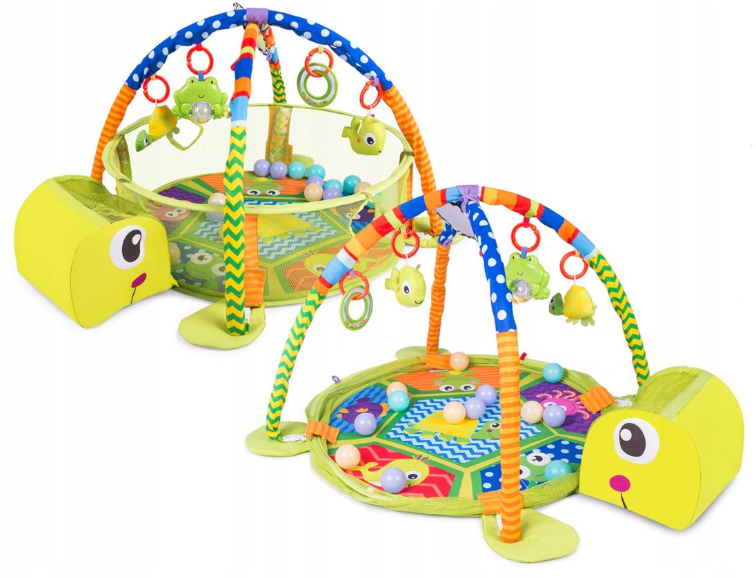 Mata edukacyjna interaktywna dla najmłodszych dzieci kojec piłeczki Żółw
