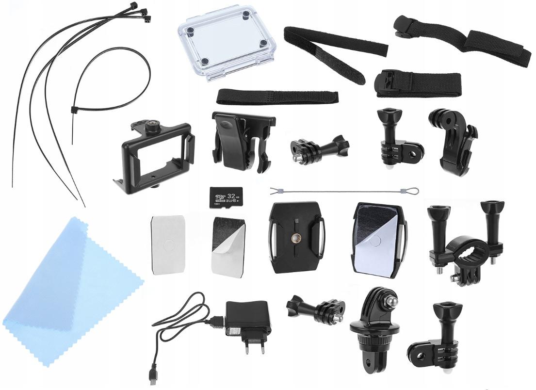 Kamera sportowa 4K WiFi wododporna obudowa różne uchwyty bogate wyposażenie