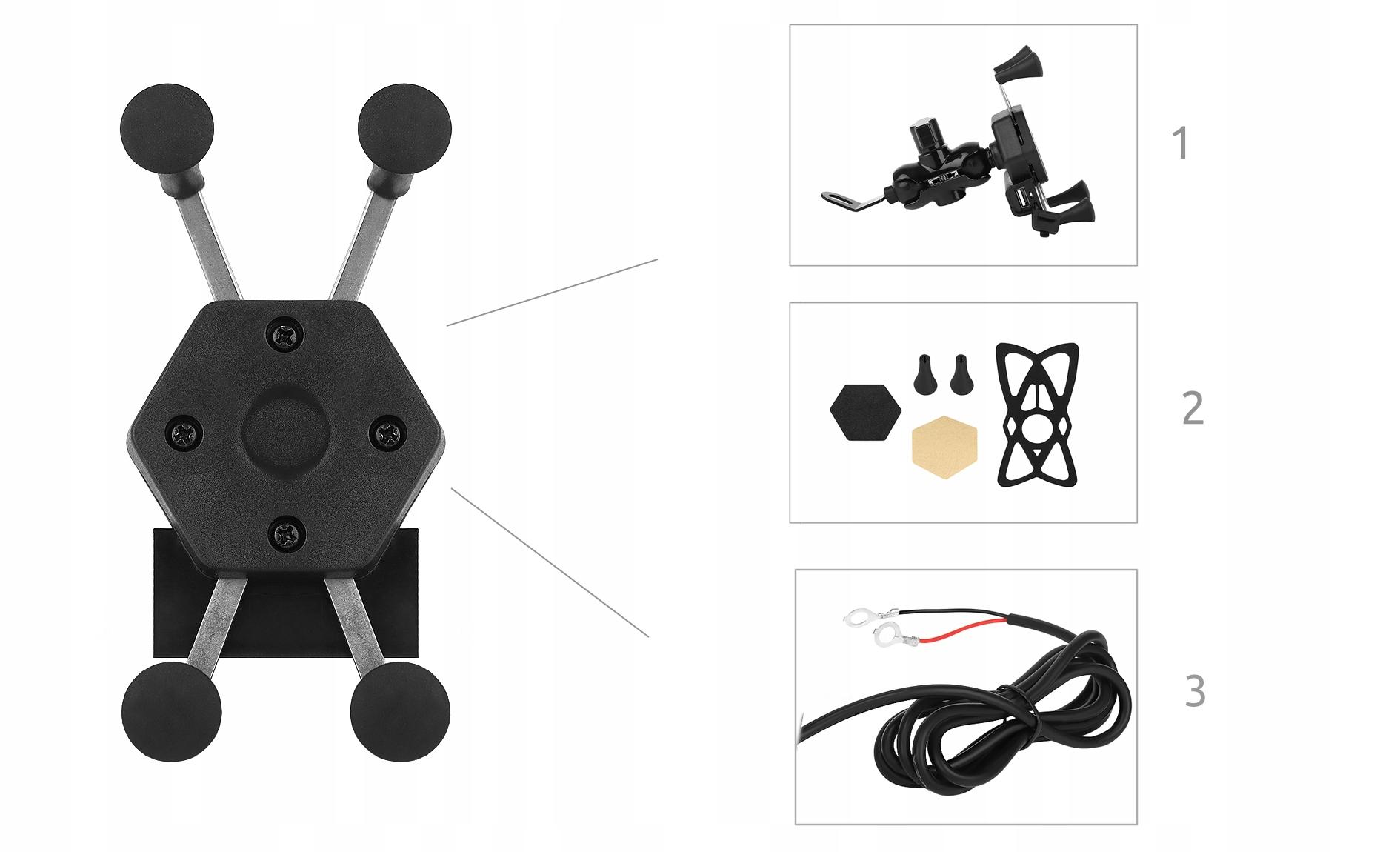 Uchwyt na telefon nawigację GPS do motocykla motoru ładowarka 3D