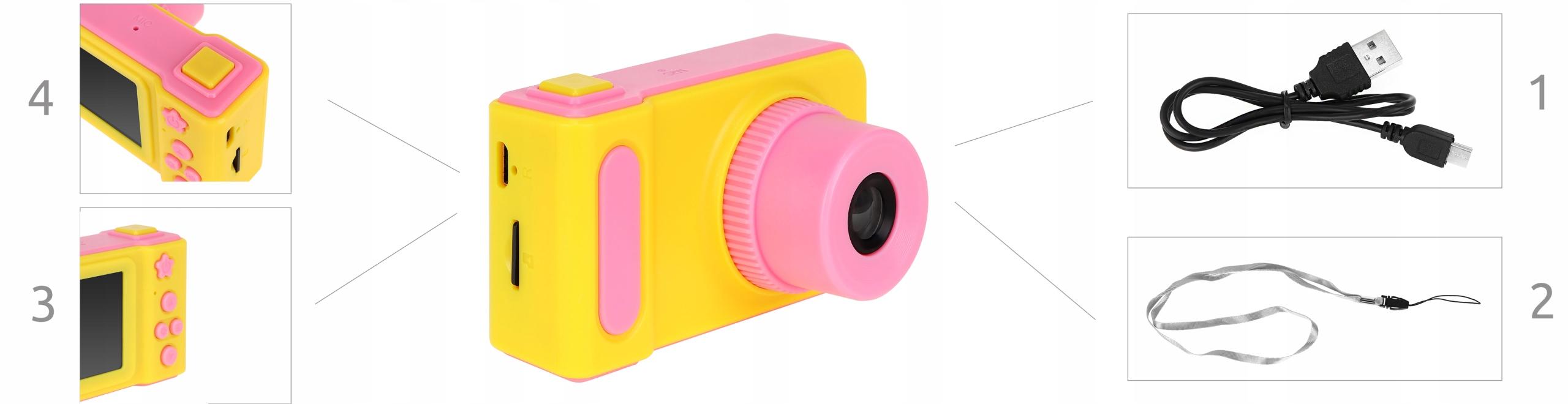 Aparat cyfrowy dla dzieci kamera ekran smycz karta pamięci SD