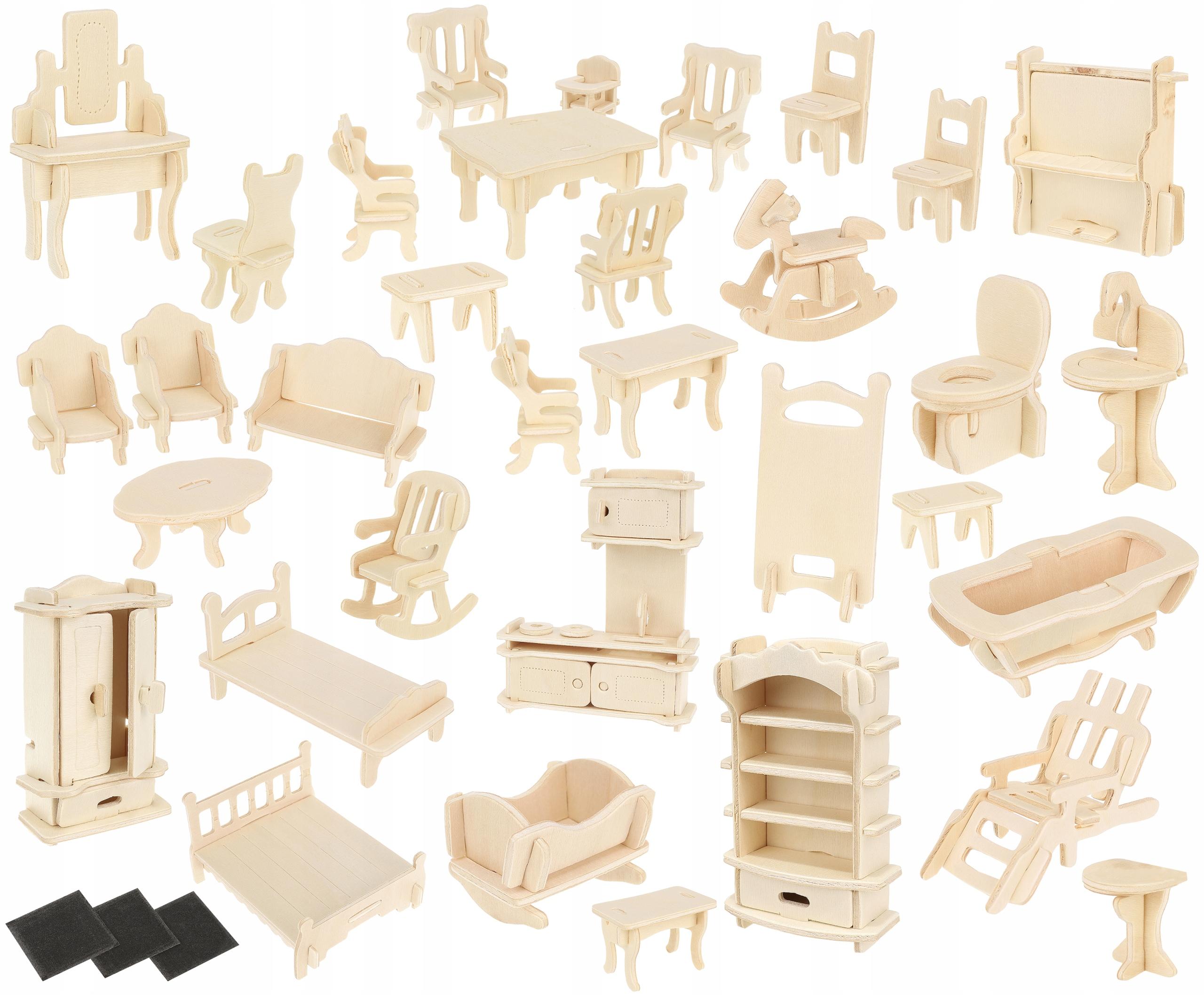Zestaw mebelków drewnianych dla lalek 34 szt. mebelki do złożenia