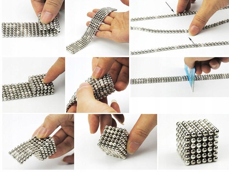 Kulki magnetyczne 1000 sztuk układanka średnica 3mm w pudełku metalowym