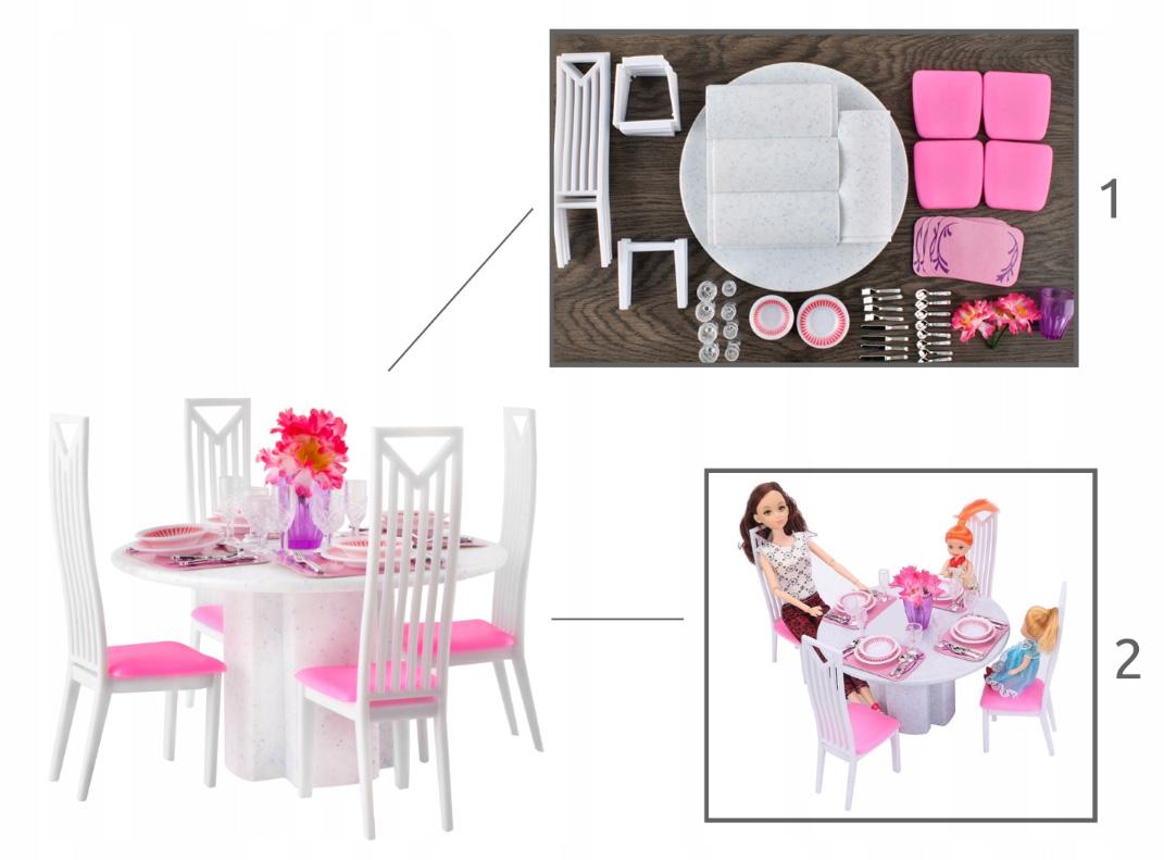 Jadalnia zestaw mebli meble dla lalki lalek stół krzesła zastawa 47elementów