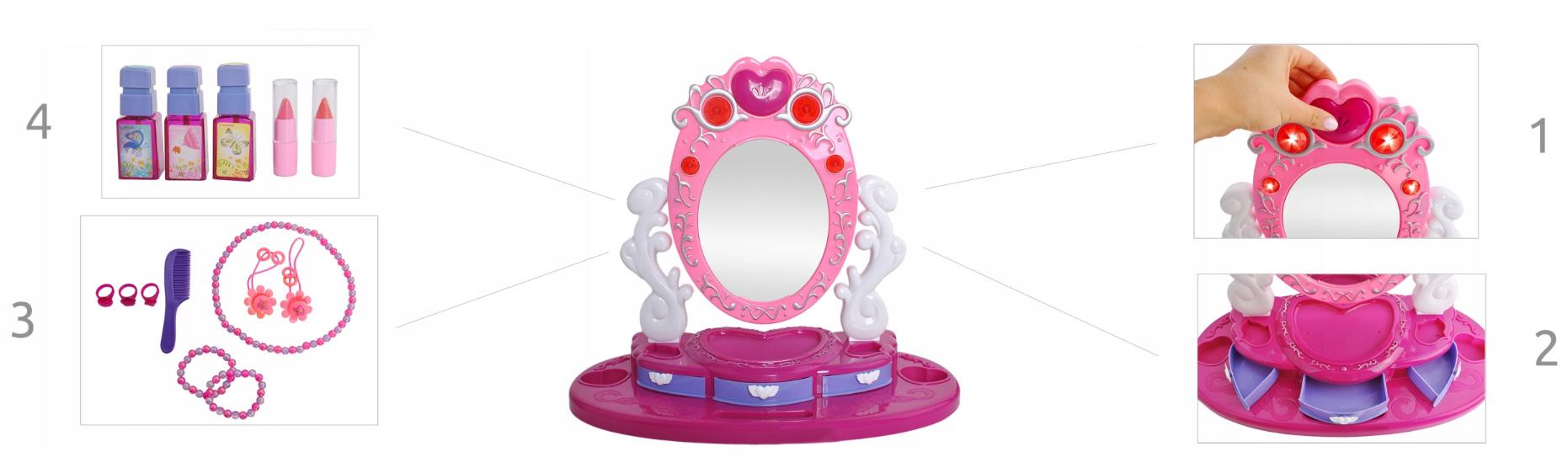 Toaletka dla Dziewczynki Obrotowe Lustro Akcesoria