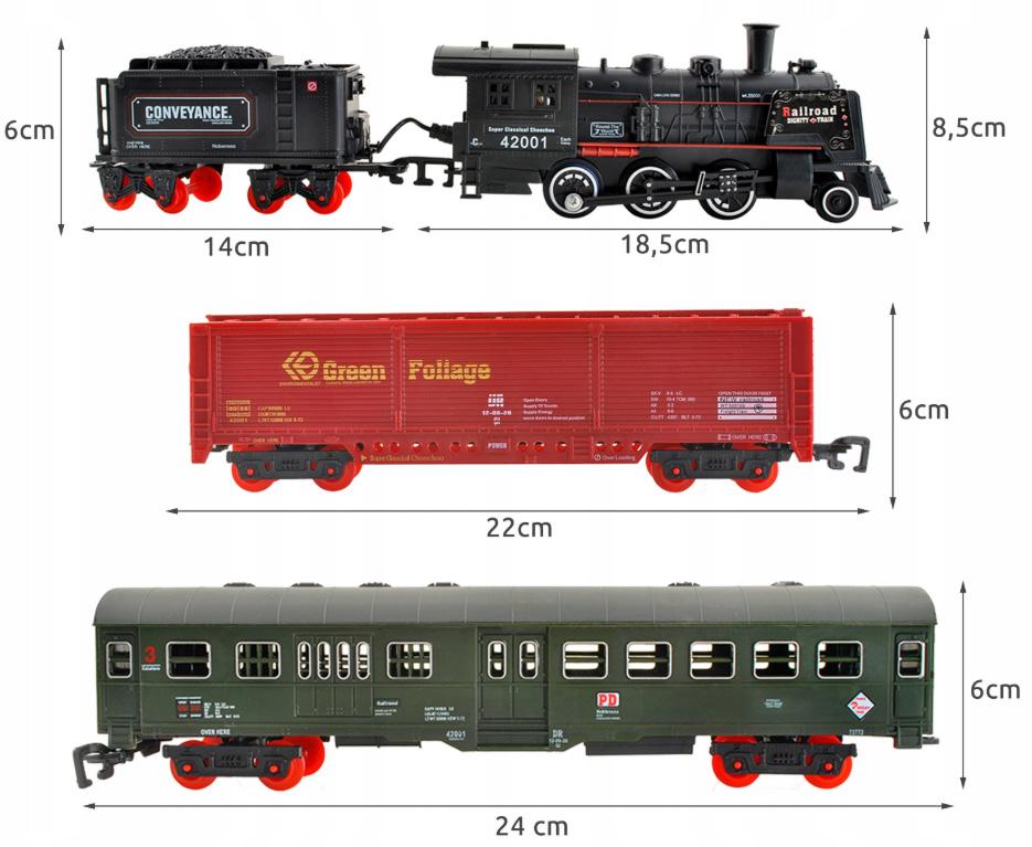Wymiary kolejki Kolejka elektryczna pociąg ciuchcia dym wagony duży tor 700cm torów