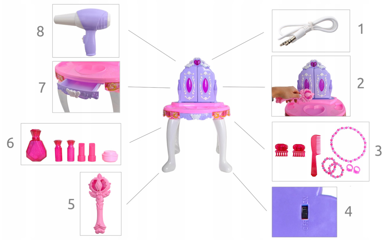 Toaletka dla dziewczynek różdżka zabawka 3 lustra pilot MP3 taboret