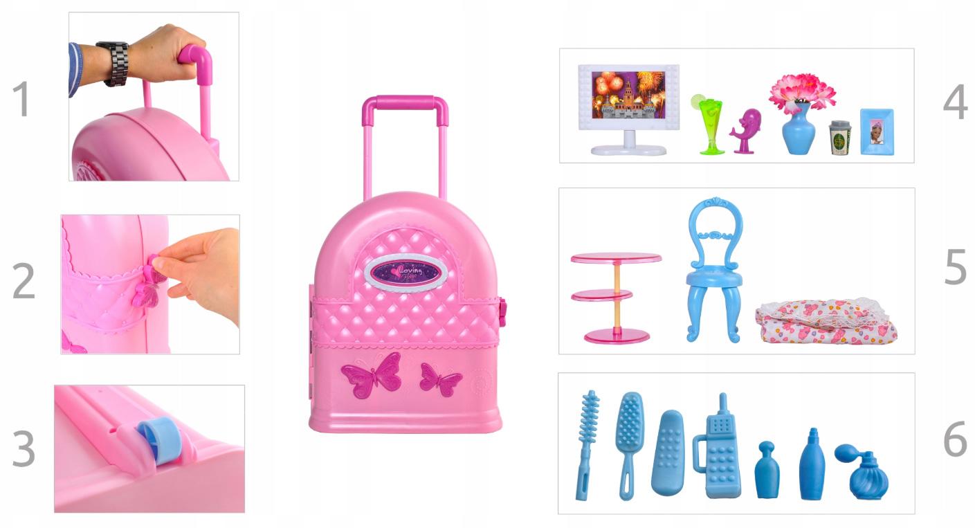 Domek dla lalek przenośny walizka z rączką mebelki 30 elementów
