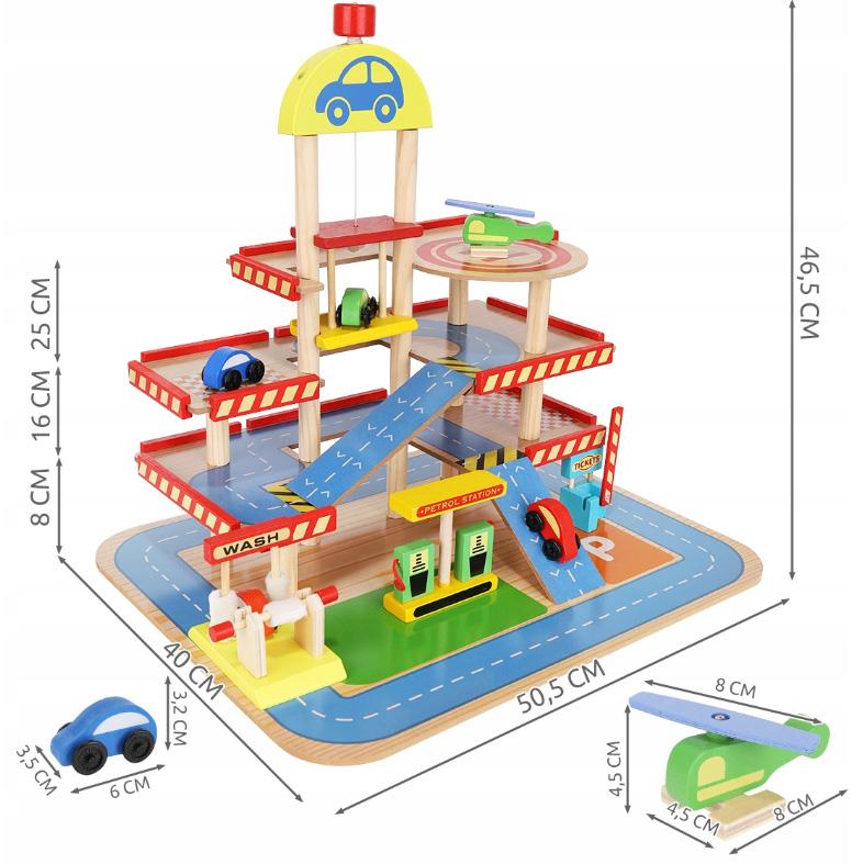 Duży parking drewniany dla dzieci samochody garaż stacja paliw myjnia