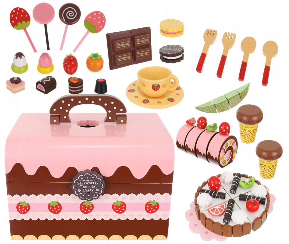 Cukiernia rolada babeczki drewniane słodycze lizaki skrzyneczka zabawki dla dzieci