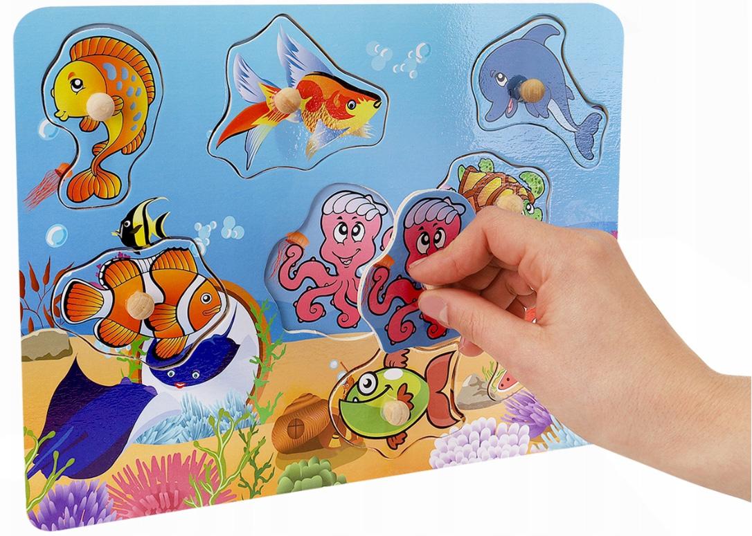 Układanka drewniana klocki edukacyjne dla dzieci rybki morskie zwierzątka