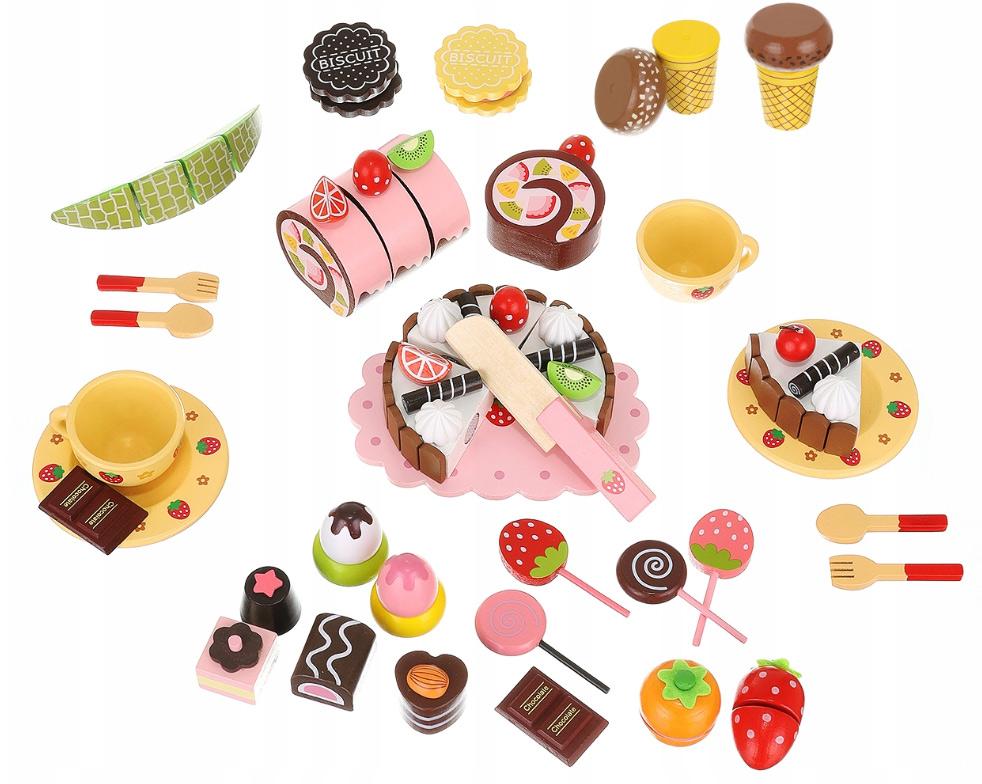Słodka skrzyneczka drewniane lizaki babeczki cukiernia zabawka dla dzieci
