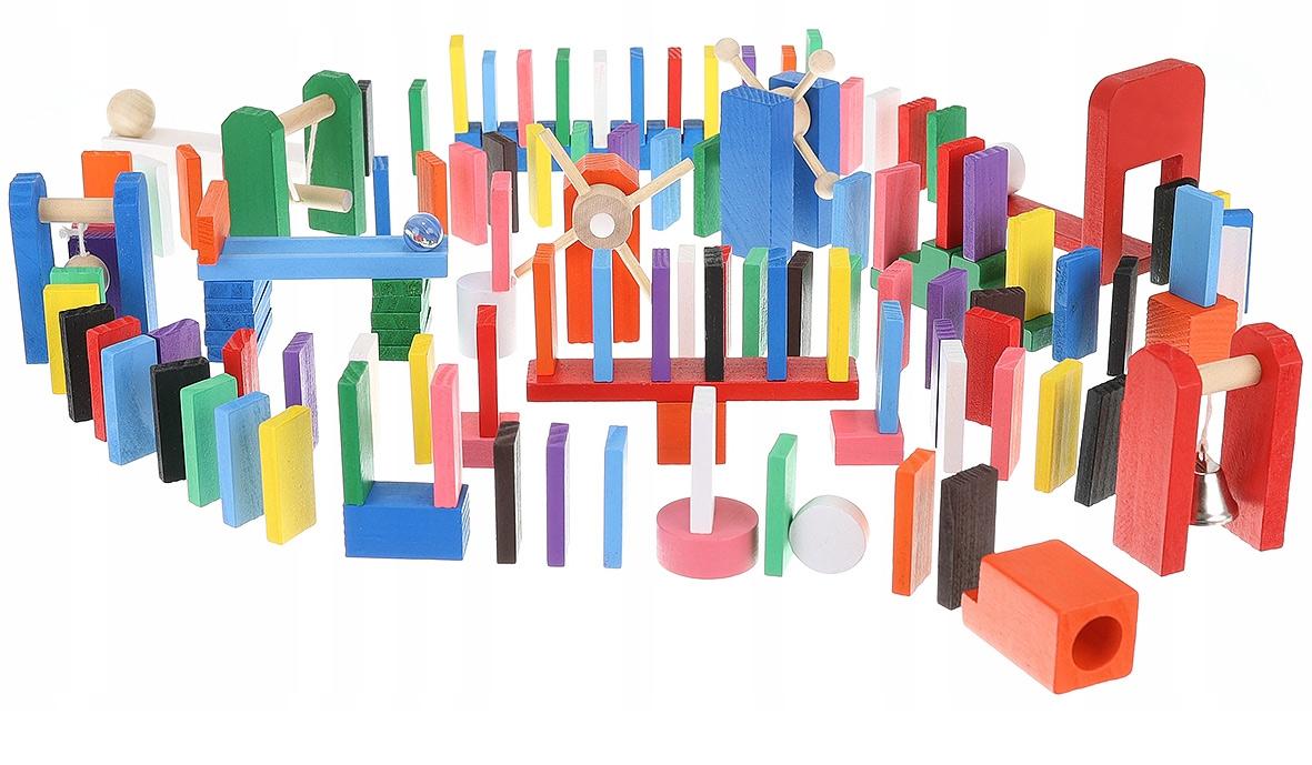 Drewniane klocki domino tor przeszkód kulodrom układanka 407 el